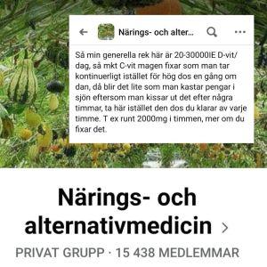 En moderator i Facebookgruppen Närings- och alternativmedicin delar råd om överdoser av vitaminer.