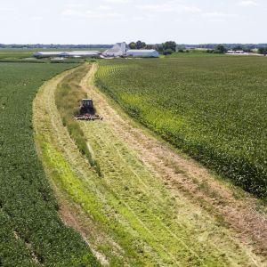 en traktor som tröskar en sojaodling
