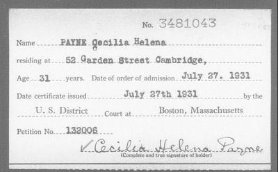 Cecilia Paynes adressuppgifter på ett maskinskrivet kort.