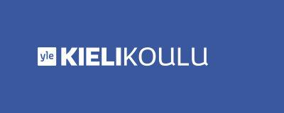 Yle Kielikoulu logo sinisellä taustalla.