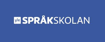 Teksti Yle Språkskolan sinisellä taustalla.