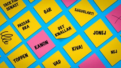 Post-it-anteckningar med ord rikssvenskt och finlandssvenskt.