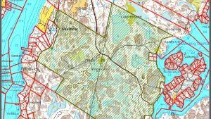 En karta över ett naturskyddsområde i Raseborg, mellan Gennarbyviken och Grabbskog storträsk