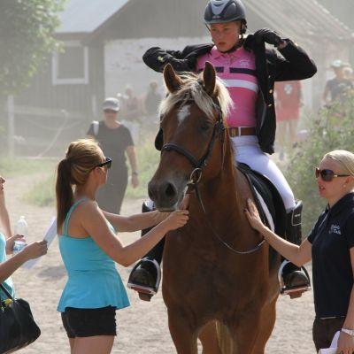 Nainen istuu hevosen selässä, kolme naista seisoo ratsukon vierellä