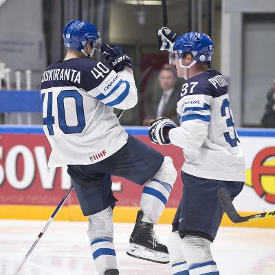 Kedjan med Jarno Koskiranta och Mika Pyörälä var Finlands bästa i segern över Kanada.