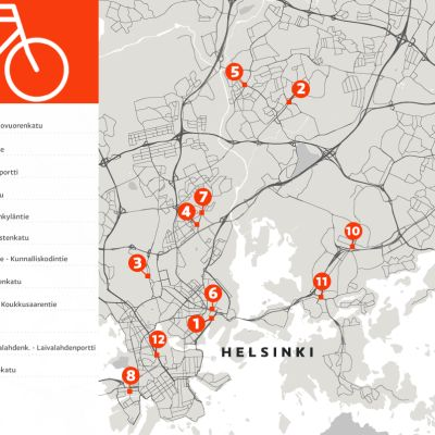 Kartalla 12 risteystä Helsingissä, joissa tapahtuu eniten pyöräilyonnettomuuksia.