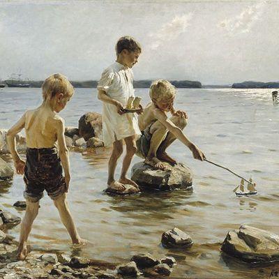 Albert Edelfeltin Leikkiviä poikia rannalla -maalaus.