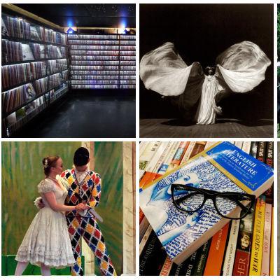 Kollage som föreställer olika konstformer såsom dans, musik, film, litteratur och teater.