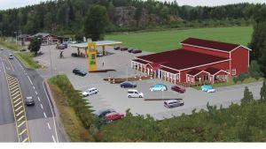 Ett bildmontage som föreställer Pickala nya ABC-bränslestatione i Sjundeå. Röd byggnad med vita knutar. Från detaljplansutkastet hösten 2014.