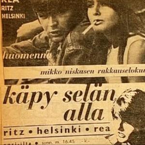 Lehtimainos Mikko Niskasen elokuvasta Käpy selän alla vuodelta 1966.