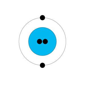En ritad helium (He2) atom.