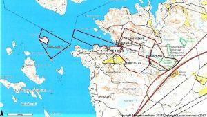 En karta där fastigheter som önskas köpas har utmärkts med rött.
