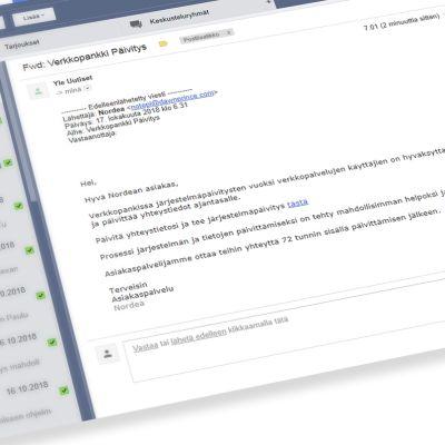 Sähköpostiin tullut huijausviesti