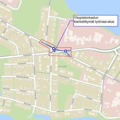 Kiertoliittymät tulevat Yliopistonkadun, Väylätien ja Pappilantien risteykseen sekä Yliopistonkadun ja Jokiväylän risteykseen.