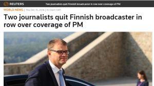 Nyhetsbyrån Reuters rapporterar att två journalister har avgått efter uppståndelsen kring rapporteringen om statsministern den 14.12.2016.