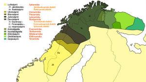 De samiska språkens geografiska utbredning på kartan.