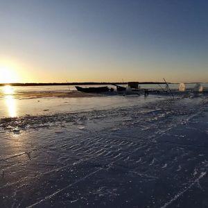 Nuotanvetoa Perämerellä Kellon Kiviniemessä.