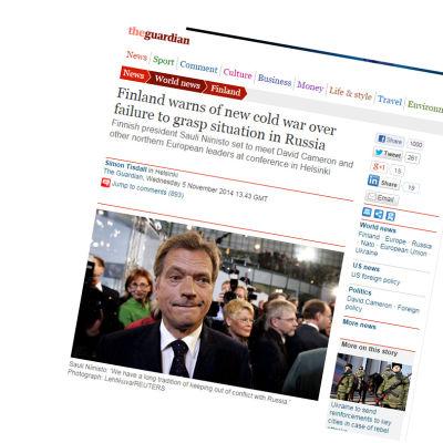 Sauli Niinistö varnar för nytt kallt krig i The Guardian