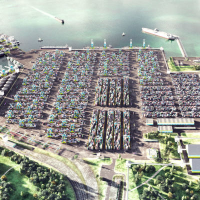 En bild på hur den nya jättehamnen är tänkt att se ut.