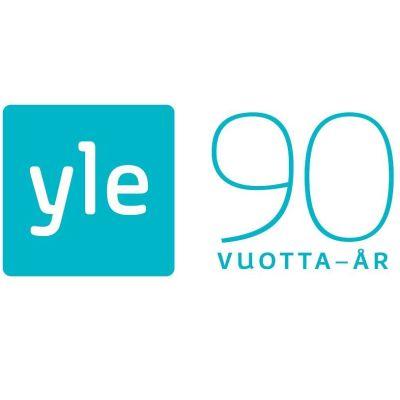 Logotyp för Yles 90-årsjubileum i Yles färger mot vit bakgrund