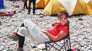 Anneli Wester på bergsbestigning