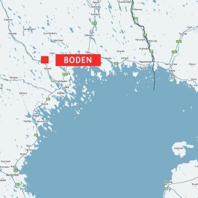 Karta över Boden i Sverige