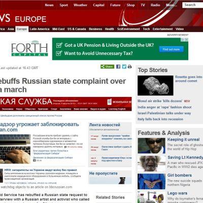 Screenshot. Kreml hotar att helt stoppa Brittiska mediebolaget BBC:s ryskspråkiga webbsida.