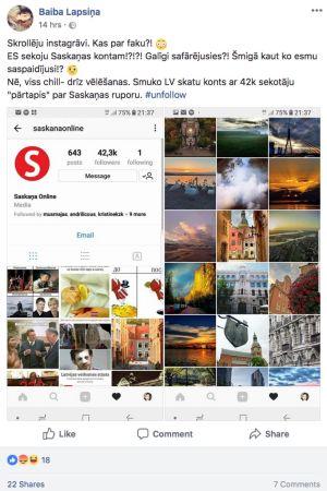 Baiba Lapsiņas inlägg på Facebook där hon berättar att partiet Harmoni har tagit över en Instagramgrupp hon brukade följa.