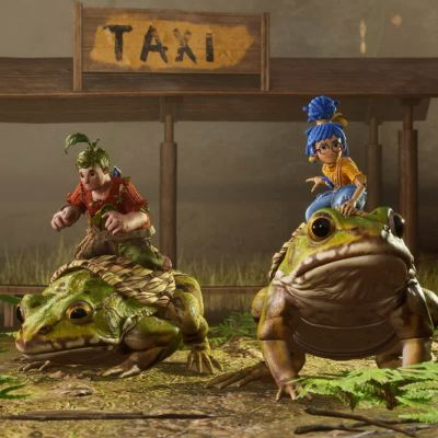 Två animerade personer som rider på grodor.