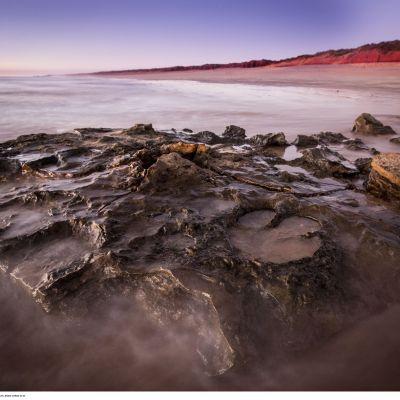 Kivettyneitä dinosauruksen jälkiä merenrannassa.