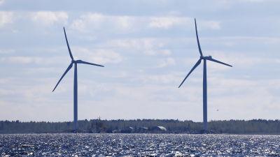 Tuulivoimalaita Hailuodossa.