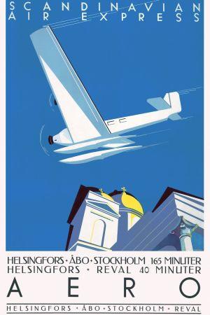 Tecknad affisch av ett flygplan som flyger över Helsingfors domkyrka.