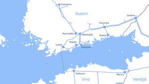 En karta som visar hur gasröret ska gå från Estland till Finland.