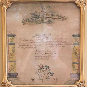 Ulrikalle osoitettu nimipäivätaulu vuodelta 1825