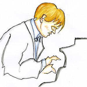 Lassi Rajamaan piirros pianotaiteilija Antti Siiralasta.