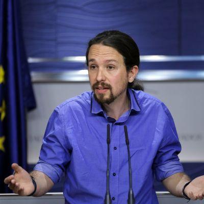 Vasemmistolaisen Podemos-puolueen puheenjohtaja Pablo Iglesias.