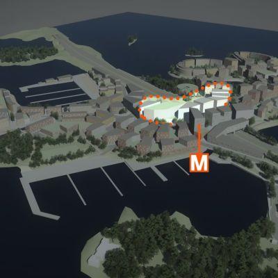 Kartta Koivusaareen kaavaillun Ikean alueesta