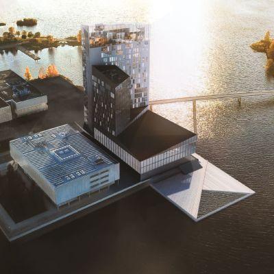 Havainnekuva Oulun torinrantaan suunnitellusta Terwa Towerista.