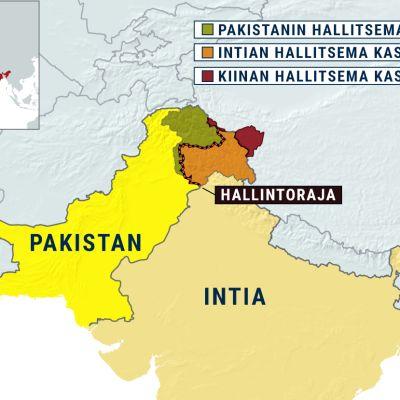 Kartta, jossa on Pakistan, Intia ja kiistanalainen Kashmirin alue
