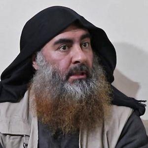 Abu Bakr al-Baghdadi på en skärmdump från en video som IS offentliggjorde i april.