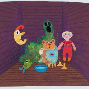 Kylmettynyt nalle lämmittelee ympärillään Pikku Kakkosen hahmot. Animaatiotausta Camilla Mickwitzin animaationelokuvaan Heikot jäät, 1986.