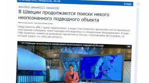 Den ryska statliga tv-kanalen Pervyj Kanal rapporterar om ubåtsjakten i Sverige.