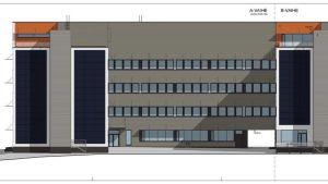 Arkitektbyrå Laatios skiss över de nya Powergate II byggnaderna