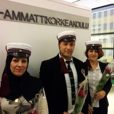 Kontakttolkarna Doaa Al-Shmes, Kambiz Estatab och Shiva Haghdoust