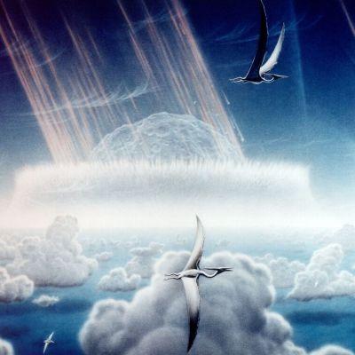 Piirroskuva asteroidista putoamassa pilvien läpi. Taivaalla lentää lentoliskoja.