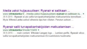 Kuvakaappaus Google-hakutuloksesta