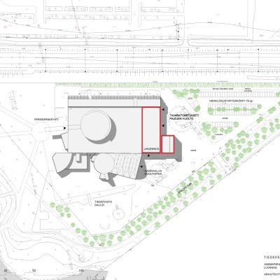 En planritning på utbyggnaden av vetenskapscentret Heureka. Markerat med rött de byggnader som inte ännu finns.