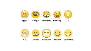 Emojin ett grinande ansikte med glada ögon i 10 olika versioner.