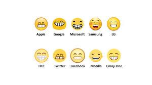 Erilaisia versioita virnistävästä emojista.