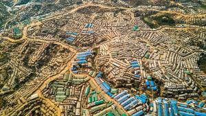 flygbild på flyktingläger i Bangladesh